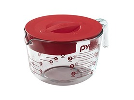 Pyrex Prepware 8 Cup Measuring Cup Clear w/Red Lid