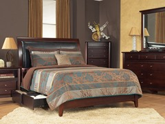 City II Qn Faux Leather Storage Bed