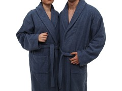Unisex Herringbone Weave Bathrobe-Midnight