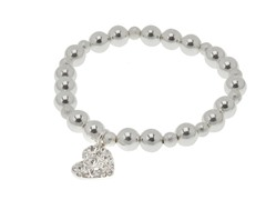 Relic RJ1042040 Silver Bead W-Heart Charm Bracelet