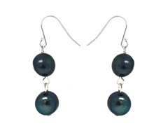 SS 2-Drops Peacock Pearl Earrings