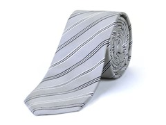 Silk Tie, Light Grey w/ Black