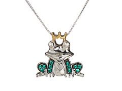 Sterling Silver & Diamond Frog Pendant