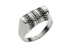 Steel Herringbone Design & Black CZ Ring