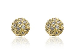 Riccova Retro 14K Gold Plated CZ Pave Ball Earring