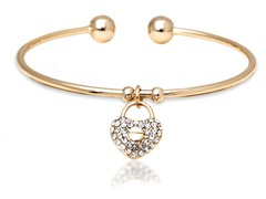 Gold/White Swarovski Elements Heart Lock Charm Bangle