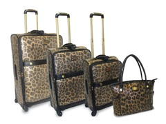 Faux Suede Metallic Leopard 4pc Set