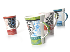 Signature 12oz Banded Floral Mugs (4)