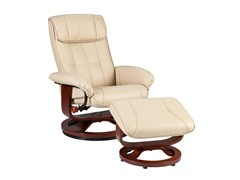 Recliner & Ottoman-Taupe Bonded Leather