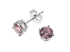 Sterling Silver, 6 mm Pink CZ Earrings