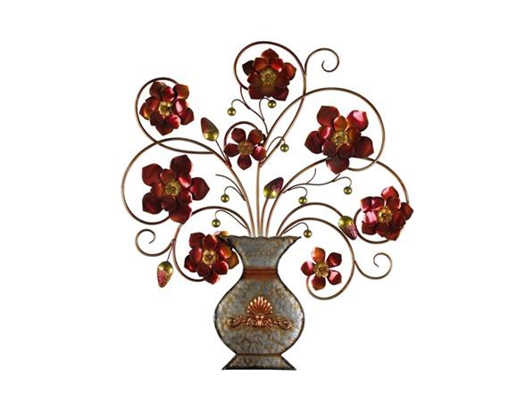 Flower In Vase Metal Wall D 233 Cor