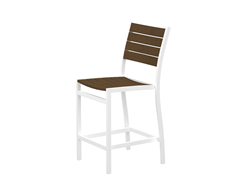 Euro Counter Chair, White/Teak