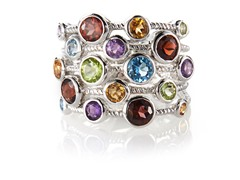 Edgewater Genuine Stone Five Row Sterling Silver Ring