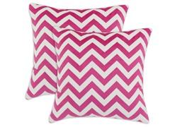 Silky Minky Pink Chevron 17x17 Pillows-S/2
