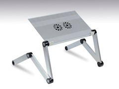 Adj/Portable Laptop Table w/Fan - Silver