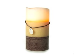 3 LED Mottled Wax Flameless Candle Layered White 4x7