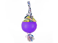 Durable Romp Roll Dog Pet Ball Toy: Purple- Multiple Sizes