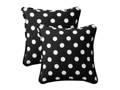 "In/Outdoor 18.5"" Pillows-Polka Dot-Black-S/2"