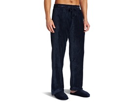 Joseph Abboud Men's Fleece PJ Pant Slipper Set,Nvy