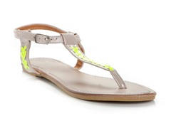 Lalo Thong Sandal, Beige and Green