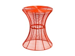 Round Metal Accent Table - Red