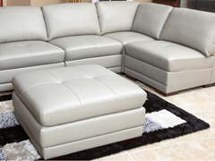 Grey 5-Piece Leather Modular Sectional