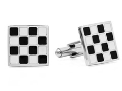 Square Cufflinks w/ Blk & White Checkers