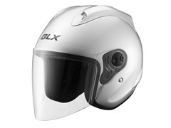 Open Face Motorcycle Helmet - Silver