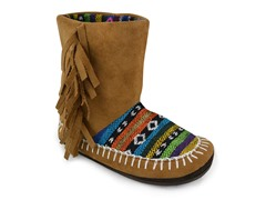 Girls Brown Slipper Boot (9 Tod-3 Youth)