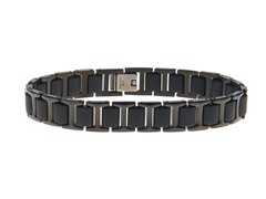 Stainless Steel and Blk Rubber Bracelet