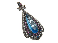 SS Blue Hydro & Dyed Ruby Genuine Semi-Precious Gemstone CZ Pendant