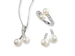 SS, Freshwater Pearl & White Topaz Set