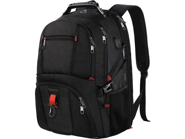 Matein Large Laptop Backpack, Unisex, Black