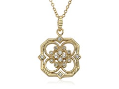 Riccova Retro CZ 14K Gold Pl Open Flower Pendant Necklace