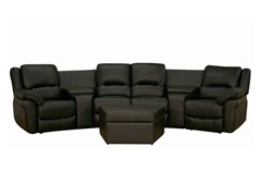 7PC Home Theater Seating Curved Row of 4 Black