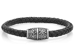 Men's Leather Magnetic Bracelet, Black