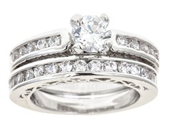 18kt WG Plated Channel Set Sim Diamond Ring Set