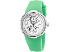 Women's White Dial / Green Rubber Strap Watch