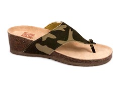 Cara Thong Wedge Sandal, Brown Camo