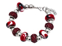 SS Murano Bracelet w/ Red-Mix Charm