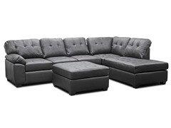 Mario Leather Sectional  w/Ottoman