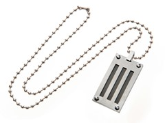 Stainless Steel Dog Tag w/ Black IP Lines and Screw Heads