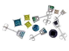 Genuine Diamond Studs Of Many Colors