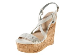 Carrini Strappy Braided Wedge Sandal, White