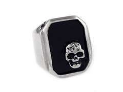 Black Ion Plated SS Fancy Skull Ring