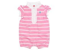 Pink & White Stripe Romper (3-12M)
