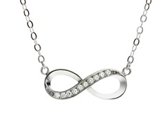 18kt White Gold Plated Infinity Necklace