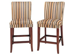 "24"" Orng Stripe Parson Stool - Set of 2"