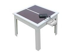 Savana Solar Patio Table, White
