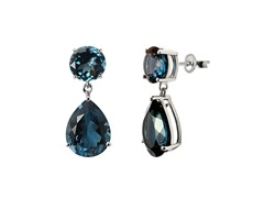 SS Large Round & Pear Shape London Blue Topaz Drop Earrings